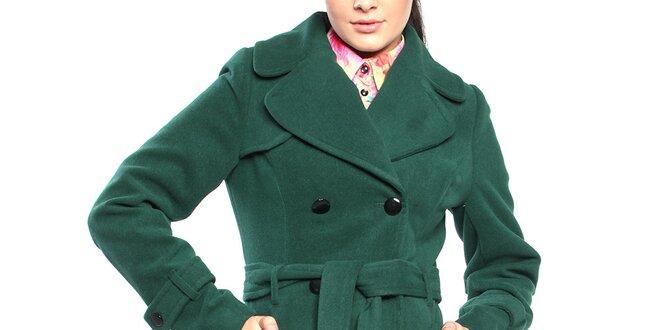 Dámsky tmavo zelený dvojradový kabát s opaskom Vera Ravenna ... 24206fbd657