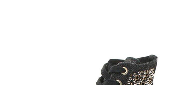 Dámske čierne členkové topánky s cvokmi Big Star