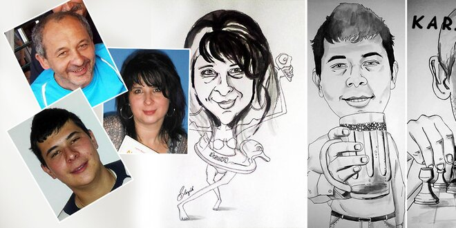 Karikatúra podľa fotografie vo formáte A3