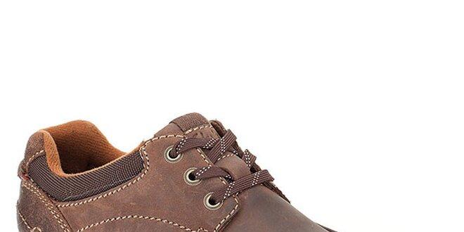 3149cf355792 Pánske prešívané hnedé kožené topánky Clarks
