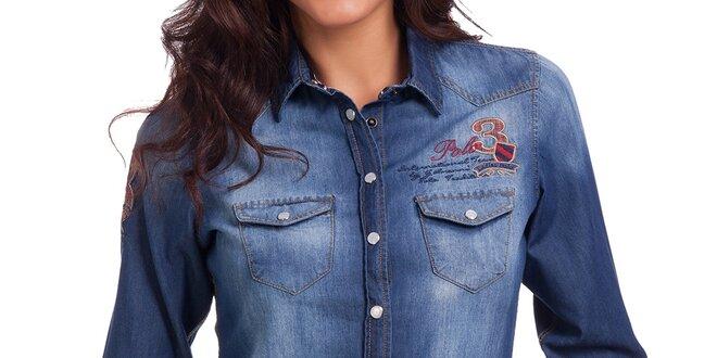 e783db1c232f Dámska džínsová košeľa so šisovaním Galvanni