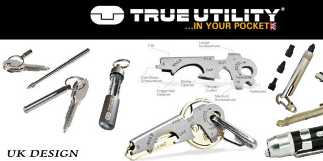 Multifunkčné nástroje TRUE UTILITY® - Veľká Británia. OUTDOOR TOOLs. 7 druhov.