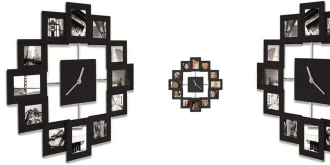 Moderné hodiny s 12. fotorámčekmi