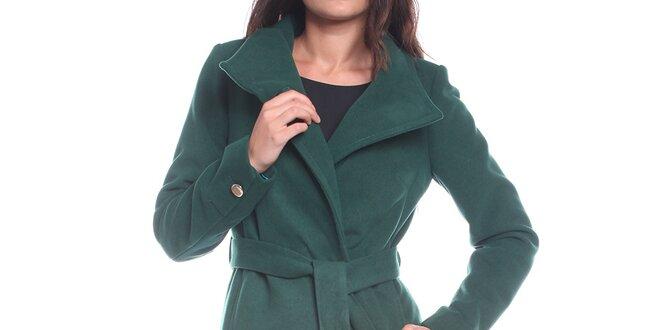 Dámsky tmavo zelený kabát s opaskom Vera Ravenna  1fca9132200