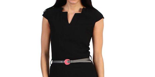4f586b4f79 Dámske čierne púzdrové šaty s opaskom Pepper Tree