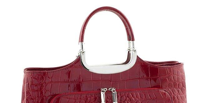 Dámska červená kožená kabelka so vzorom Classe Regina
