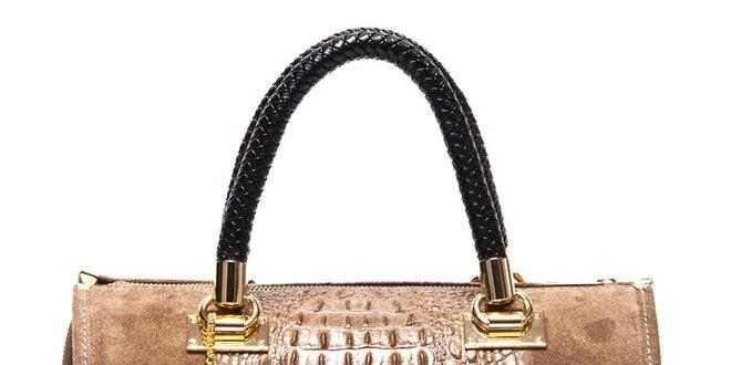 Dámska hnedá kabelka so vzorom krokodílej kože Isabella Rhea