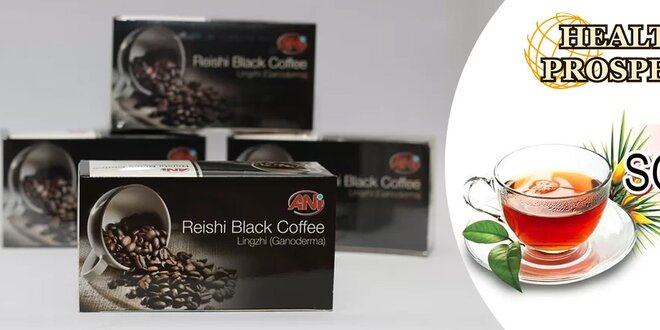 Zdravá káva Reishi Black Coffee alebo čaj ANI Reishi SOD tea s liečivými a antioxidačnými účinkami