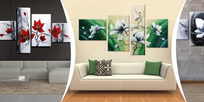 4-dielny ručne maľovaný obraz - oživte svoj interiér!
