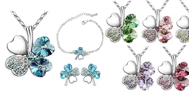 Krásny 3 dielny set šperkov štvorlístok