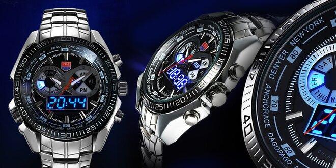 Krásne pánske nehrdzavejúce analog-LED hodinky