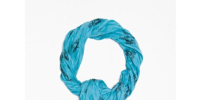 Dámska modrá šatka s potlačou tigrej hlavy Bella Rosa