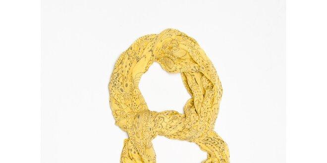 Dámska žltá šatka s futuristickými kvetinami Bella Rosa