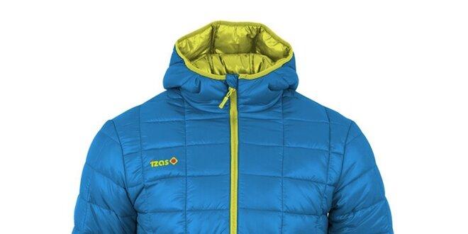 Pánska modrá prešívaná bunda s kontrastným zipsom Izas