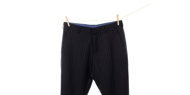 Pánske čierne vlnené nohavice s prúžkom Tommy Hilfiger