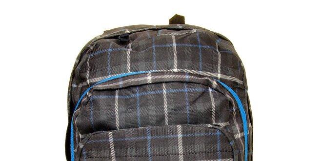 Pánsky šedo-modrý kockovaný batoh s logem Fundango  a0759cbab6a