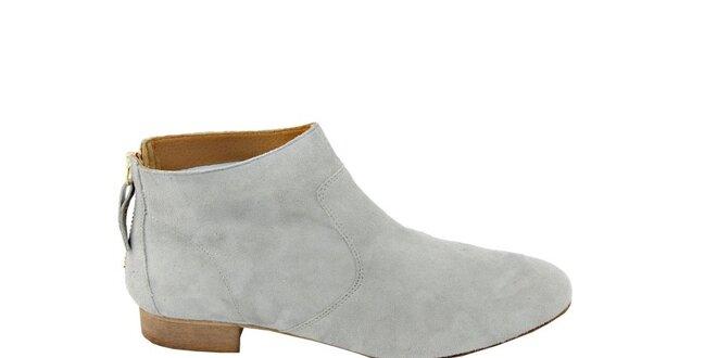 Dámske svetlo šedé semišové kotníčkové topánky na zips Eye