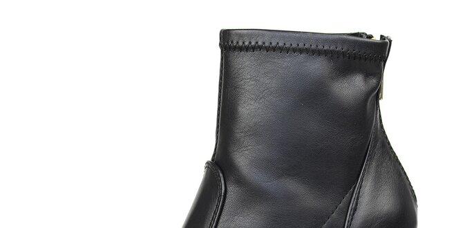 11f83bdbd Dámske čierne členkové topánky so zlatým zipsom Bullboxer | Zlavomat.sk