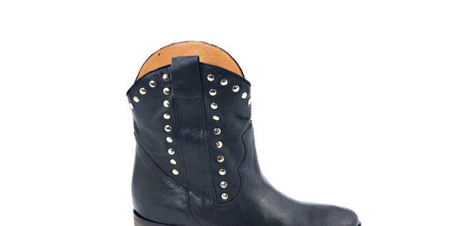 Dámske čierne kovbojské topánky s cvočkami Eye