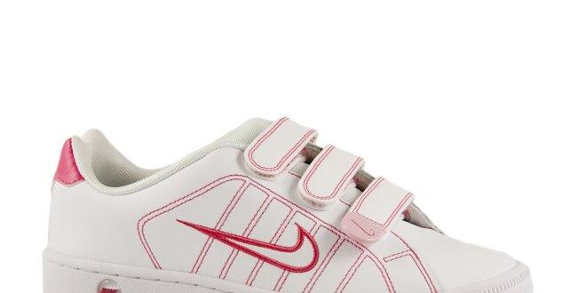 Dámske ružovo-biele kožené tenisky Nike  466c8b00674