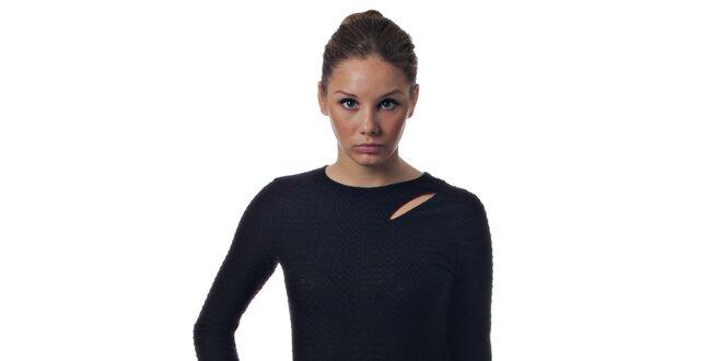 Dámske čierne mini šaty Miss Sixty s opaskom