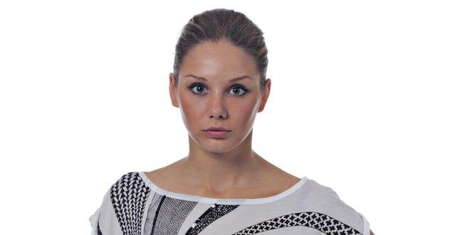 Dámsky biely top Miss Sixty s čiernym vzorom a korálkami
