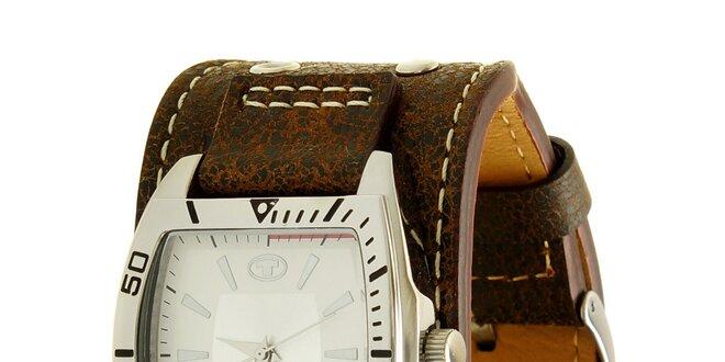 fab7b159b Hnedé náramkové retro hodinky s analogovým ciferníkom Tom Tailor ...
