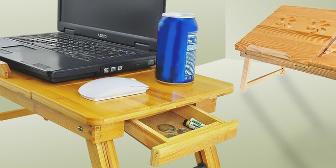 Stolík na notebook do postele z bambusového dreva