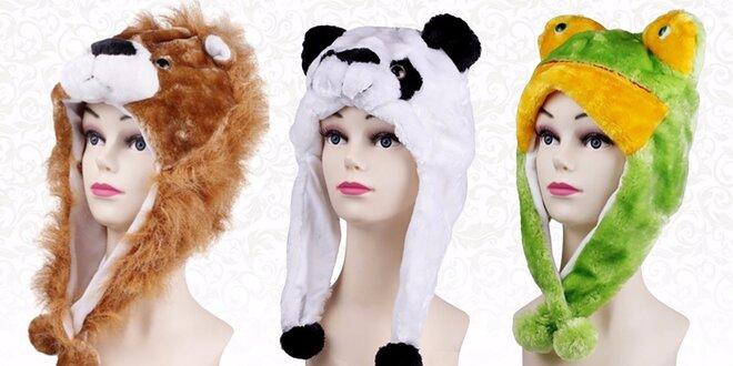 Hrejivé zimné čapice - plyšové zvieratká