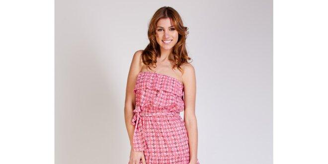 8596031f65dc Dámske ružové šaty Tonala s volánmi a potlačou