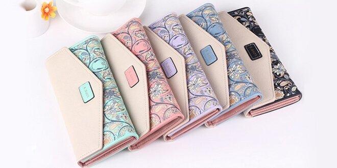 Elegantné peňaženky s kvetinovým vzorom v 5 farbách