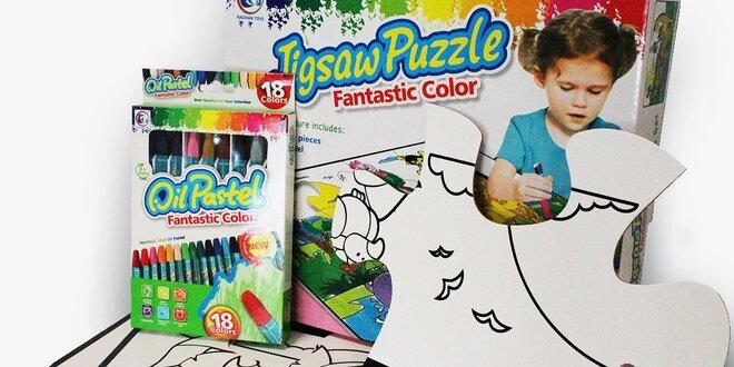 Puzzle podložka na vyfarbovanie s pastelkami