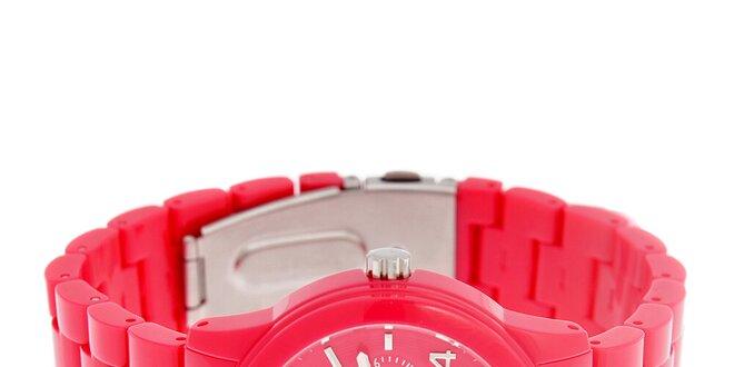 Dámske neonovo rúžové náramkové hodinky Guess