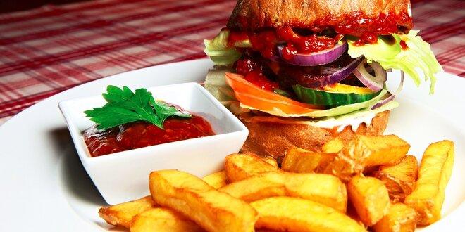 Parádny hamburger s hranolčekmi