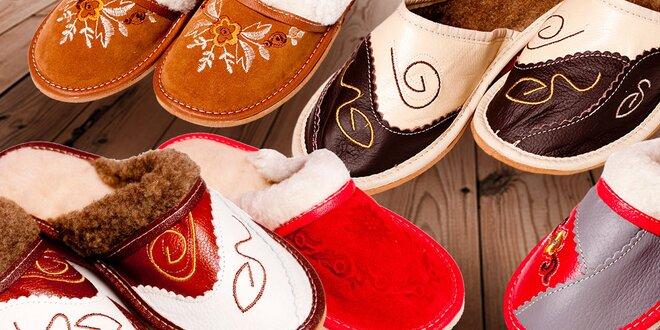 Pohodlné dámske papuče z pravej ovčej vlny