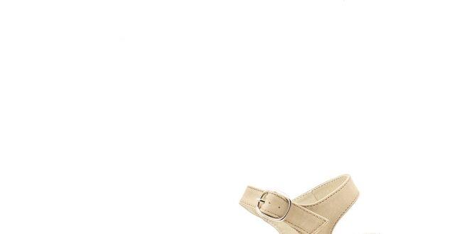 479781e2060c Dámske svetle béžové kožené sandále s farebným jutovým podpätkom Boaime