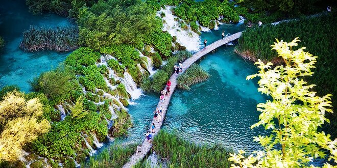 Národný park Plitvické jazerá v Chorvátsku
