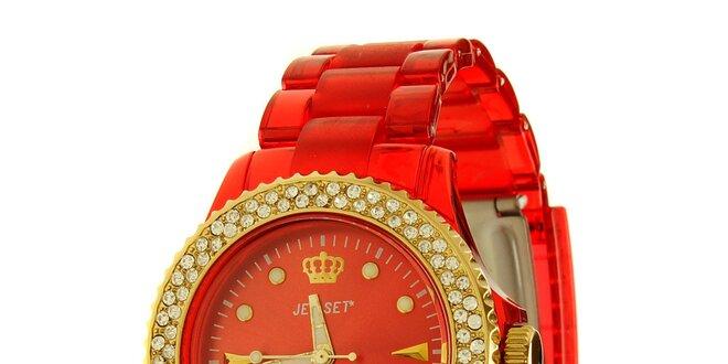 e5940e35cc Dámske červené hodinky Jet Set so zlatými detailami a kamienkami ...