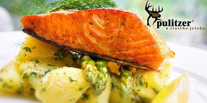 Jarné menu! 200g steak z nórskeho lososa a domáca slepačia polievka