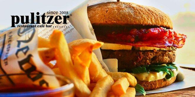 GRAND MC Pulitzer burger s hranolčekmi a domácou slepačou polievkou