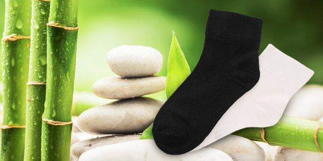 Dámske bambusové ponožky 6 párov biele alebo čierne