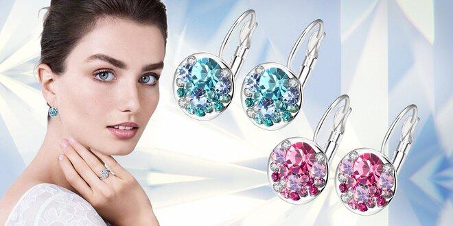 Elegantné visiace náušnice Round Crystals s kryštálmi