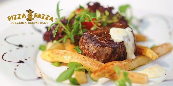 Trojchodové menu so steakom z hovädzej sviečkovice s bielou špargľou