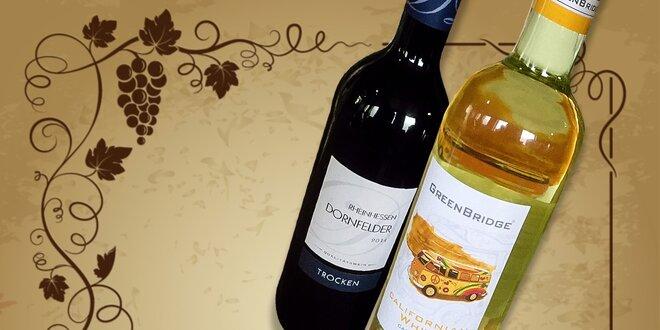 Kartón bieleho vína Californian white 2014 alebo kartón červeného vína Rheinhessen Dornfelder 2014
