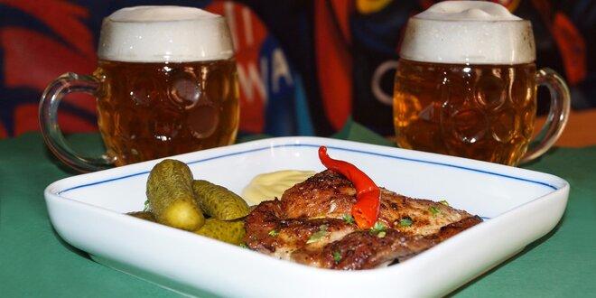 Pivká s grilovanou krkovičkou či bravčovou klobásou