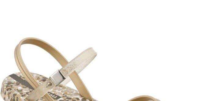 c72aeb0e3d8c Dámske zlato-hnedé sandálky Ipanema s leopardím vzorom