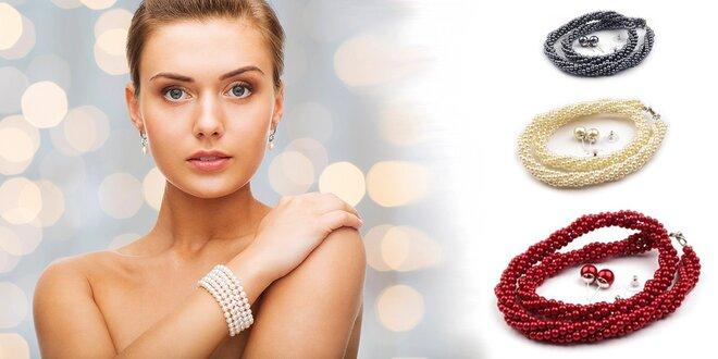 Elegantný náhrdelník a náušnice s voskovaných perál