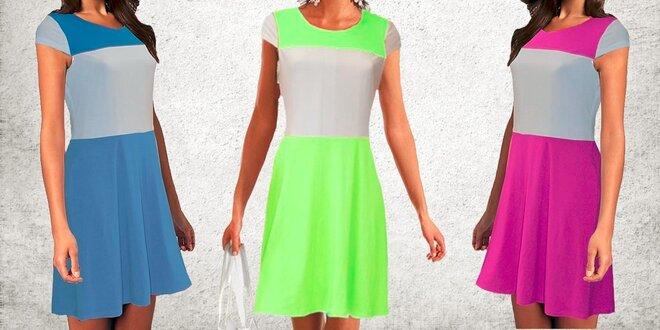 Dámske dvojfarebné šaty s krátkym rukávom