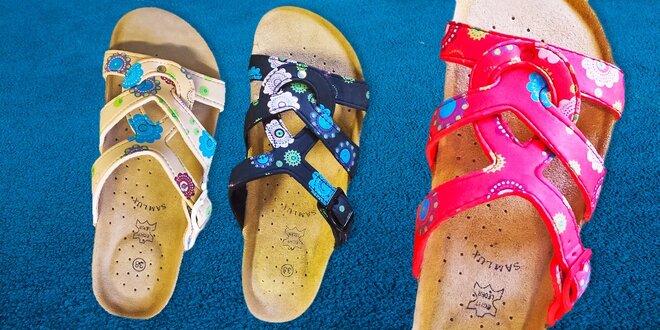 Dámské korkové papuče Samlux s koženou výstelkou