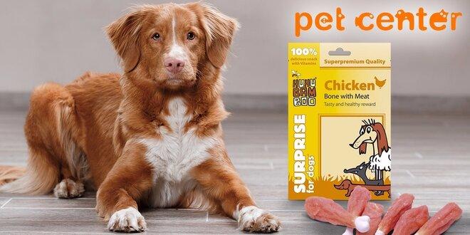 Dva balíčky superprémiových kuracích pamlskov pre psov od Huhubamboo